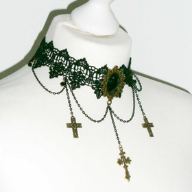 Detail image to DARK IN LOVE Gothic Cross Choker