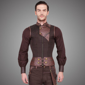Detail image to VINTAGE GOTH Steampunk Men's Corset Brown