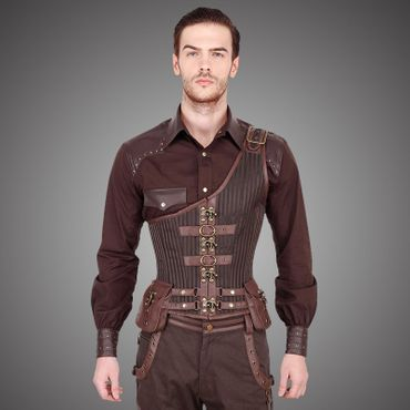 VINTAGE GOTH Steampunk Midchest Men's Corset Brown