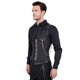 Detail image to VINTAGE GOTH Gothic Midchest Men's Corset Black