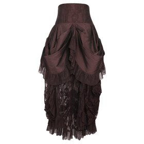 VINTAGE GOTH Steampunk Veil Skirt Brown
