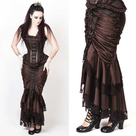 VINTAGE GOTH Steampunk Skirt Brown