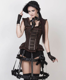 Detail image to VINTAGE GOTH Steampunk Corset Brown