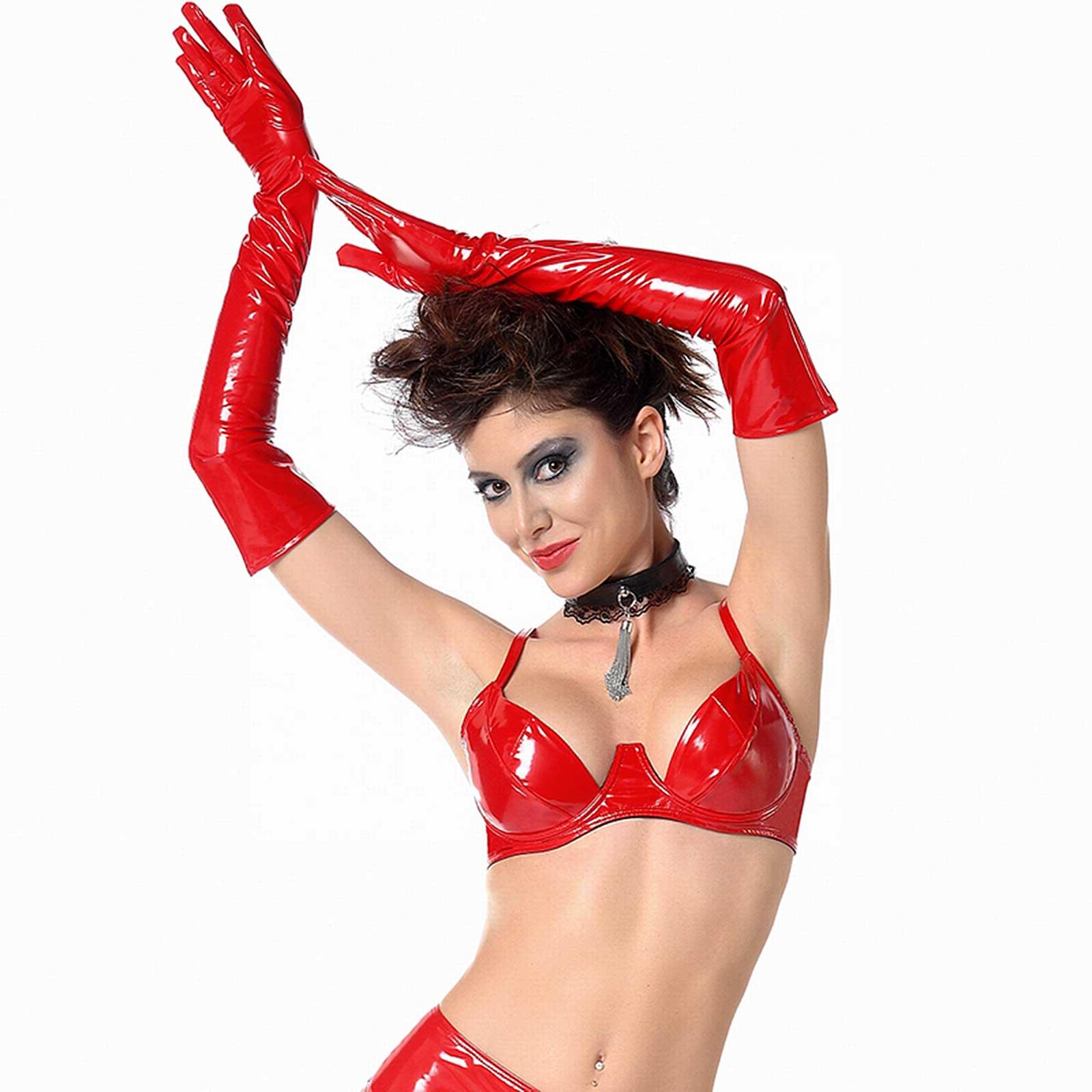 PATRICE CATANZARO Vinyl Opera Gloves Red