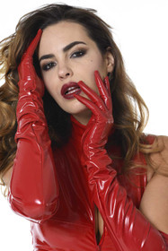 Detail image to PATRICE CATANZARO Vinyl Opera Gloves Red