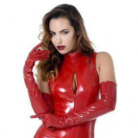 PATRICE CATANZARO Vinyl Opera Gloves Red