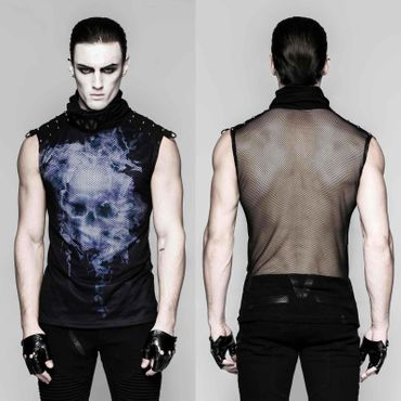 PUNK RAVE Ghost Tank Top Blue