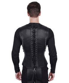 Detail image to VINTAGE GOTH Men's Leather Corset