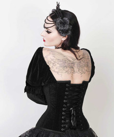 Detail image to VINTAGE GOTH Mylady Velvet Corset w. Sleeves