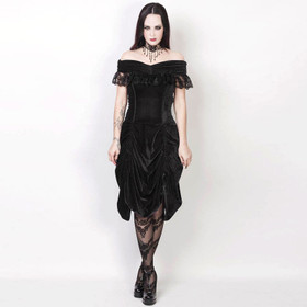 Detailbild zu VINTAGE GOTH Black Velvet Dream Dress