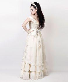 Detail image to VINTAGE GOTH Victorian Ruffle Skirt Cream