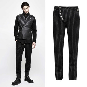 Detail image to PUNK RAVE Steampunk Pinstripe Pants