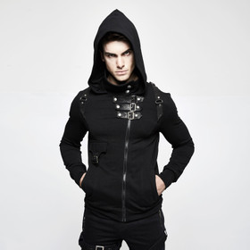 PUNK RAVE Gothic Hoodie With Buckles