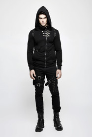 Detail image to PUNK RAVE Gothic Hoodie With Buckles
