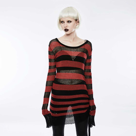PUNK RAVE Knit Long Top Black-Red