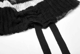 Detail image to PUNK RAVE Knit Long Top Black-White