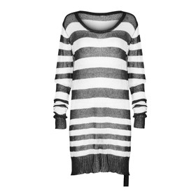 PUNK RAVE Knit Long Top Black-White