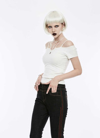Detailbild zu PUNK RAVE Off The Shoulder Strap Shirt Weiß