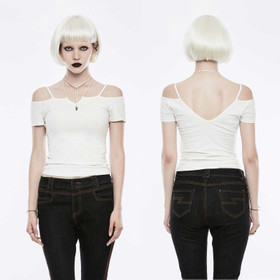 PUNK RAVE Off The Shoulder Strap Shirt White
