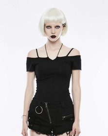 Detail image to PUNK RAVE Off The Shoulder Strap Shirt Black