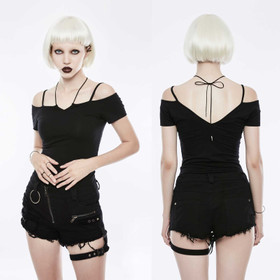 PUNK RAVE Off The Shoulder Strap Shirt Schwarz