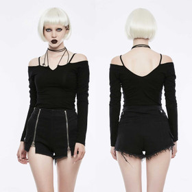 PUNK RAVE Longsleeve Strap Top Black