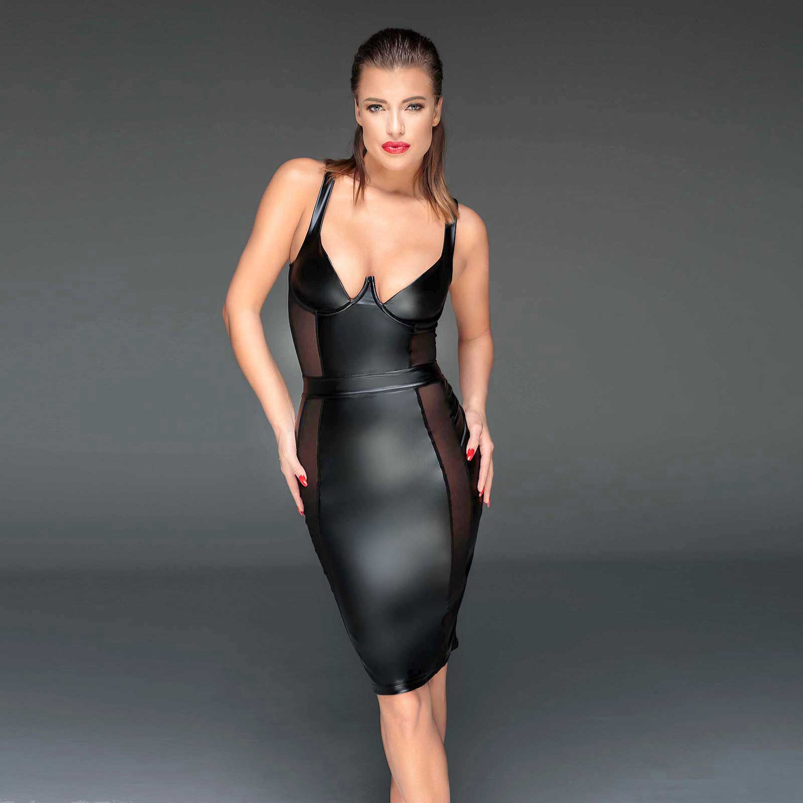 NOIR HANDMADE Wetlook Cocktail-Kleid