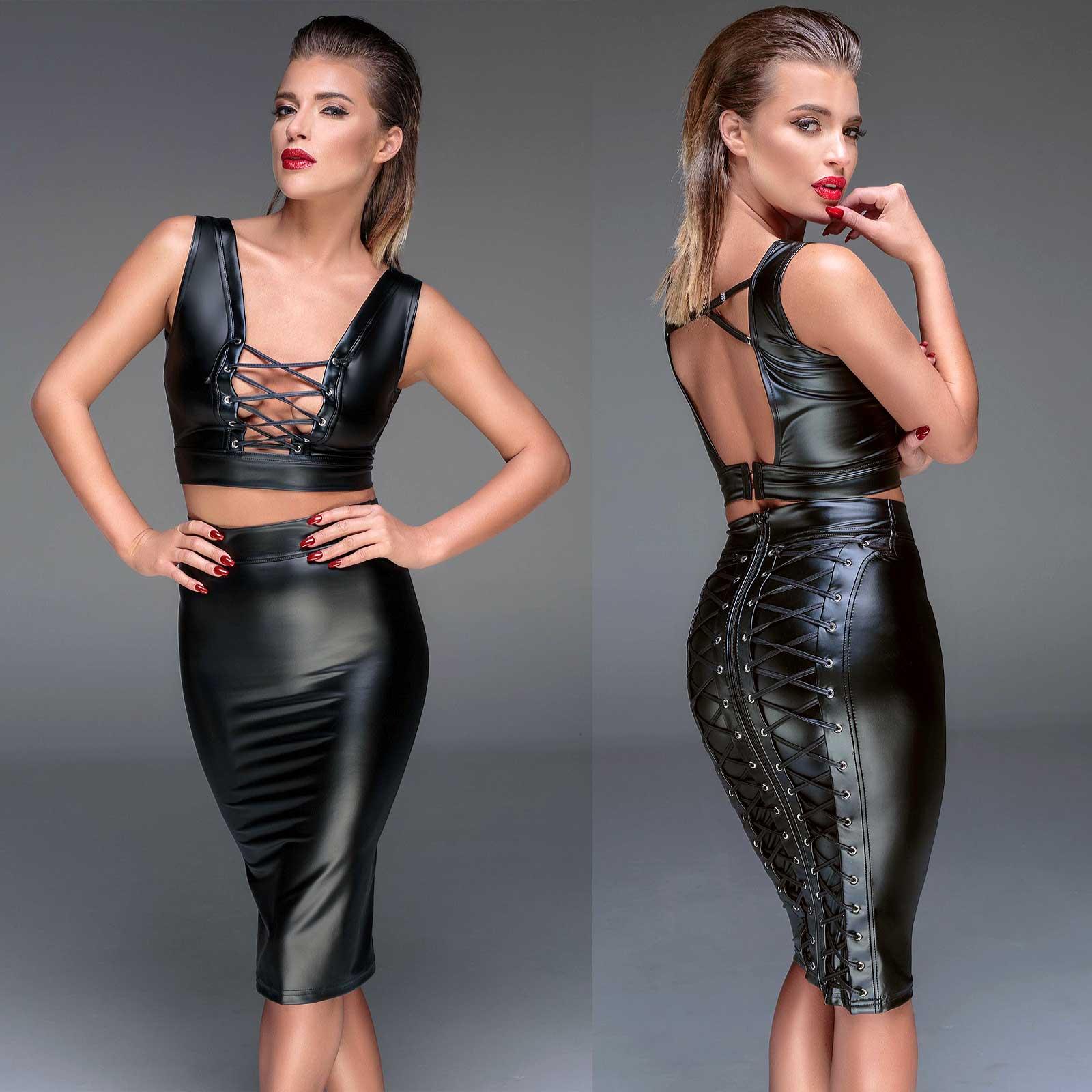 Skirts Noir Handmade Sophisticated Straps-rock Wetlook Pencil Skirt Gothic Clubwear
