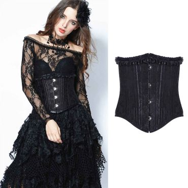 DARK IN LOVE Black Brocade Korsettmieder