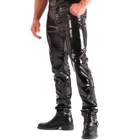 HONOUR Herren Lackhose Straight Cut Schwarz