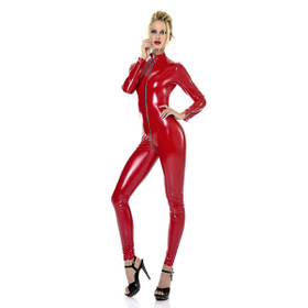 PATRICE CATANZARO Sweety Vinyl Catsuit Red