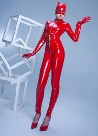 Detail image to PATRICE CATANZARO Sweety Vinyl Catsuit Red