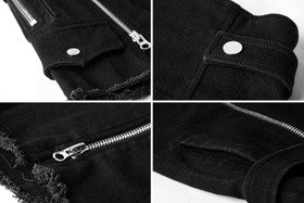 Detail image to PUNK RAVE Double Zip Shorts Black Denim