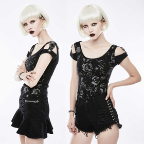 PUNK RAVE Black Rose Top