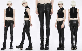 Detail image to PUNK RAVE Black Leatherette Treggings