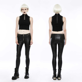 PUNK RAVE Black Leatherette Treggings