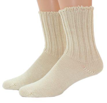 Damen Herren Socken Wolle 2:2 Rippe natur – Bild 2
