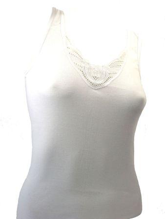 Damen Feinstrick Unterhemd mit Stickeinsatz – Bild 1