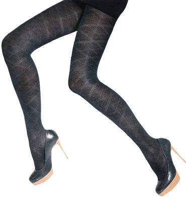 Damen Pantyhose 60 den gemustert schwarz