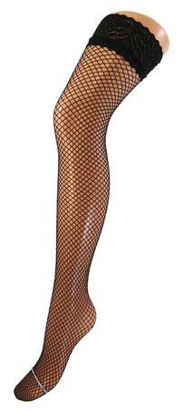Damen Netzstrümpfe halterlos mit Spitzenabschluss schwarz – Bild 2