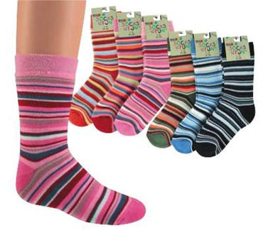 Kinder/Damen Thermo Ringelsocken 3er Pack – Bild 2