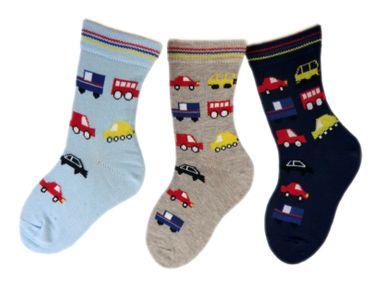 Baby/ Kinder Socken 3-er Pack allover Auto – Bild 2