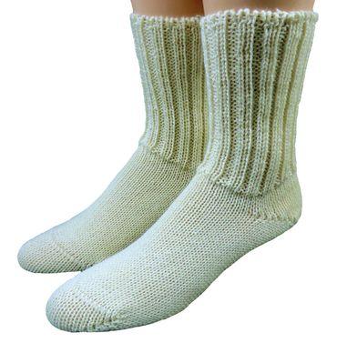 Damen Herren Socken 100% Wolle ohne Gummi rohweiß