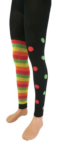Damen Legging ein Bein Ringel ein Bein Punkte – Bild 1