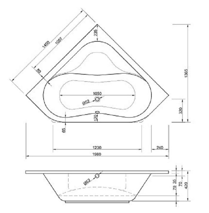 Eck Badewanne-Acryl  |  Wanne 140x140cm Bild 3