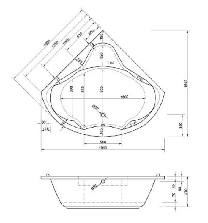 Komfortable Eck Badewanne-Acryl | 150x150cm Bild 2