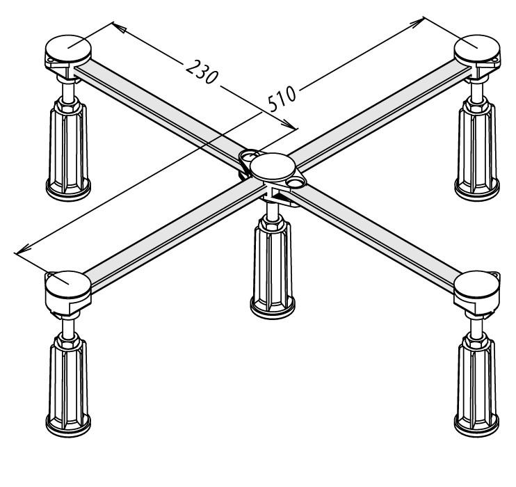 Duschwannenfuß Wannenfuß Stahl / Acryl Duschwannen 75x75-90x90cm Höhenverstellbar 125-185mm Bild 2