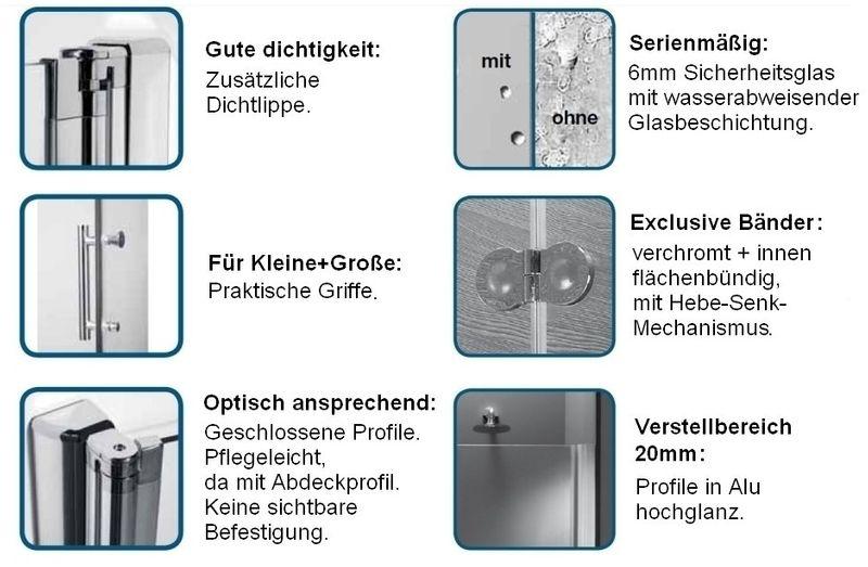 Nischentür | Duschabtrennung | Eckeinstieg | Dusche Duschkabune Echtglas Bild 2