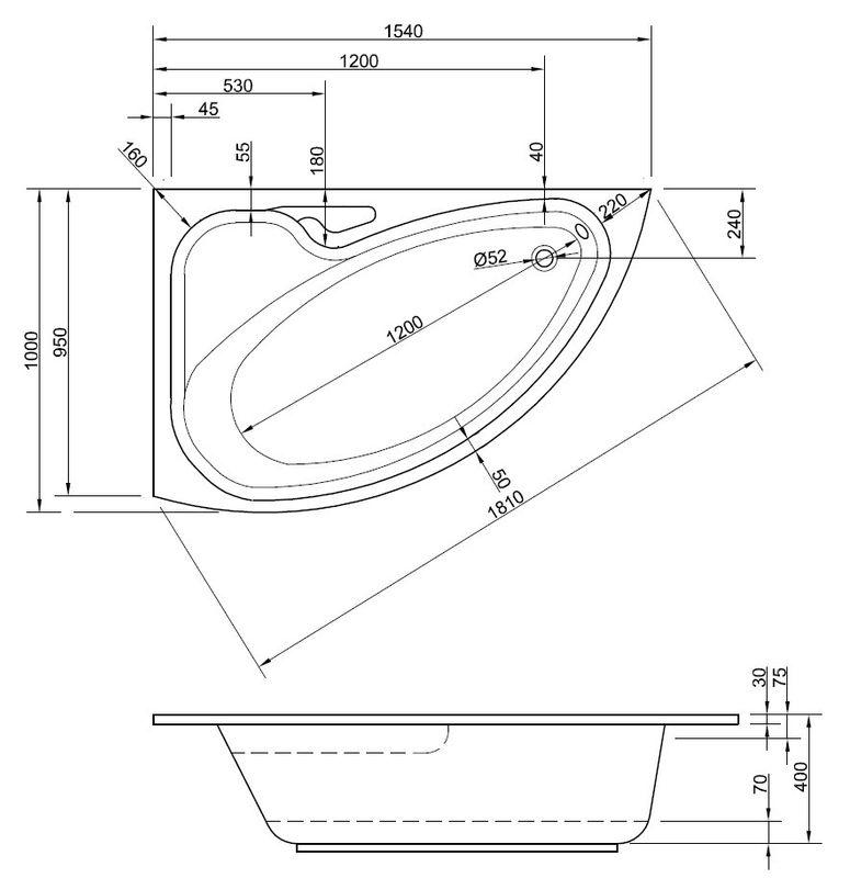 Badewanne-Acryl | 154cm | Wanne linke variante Bild 2