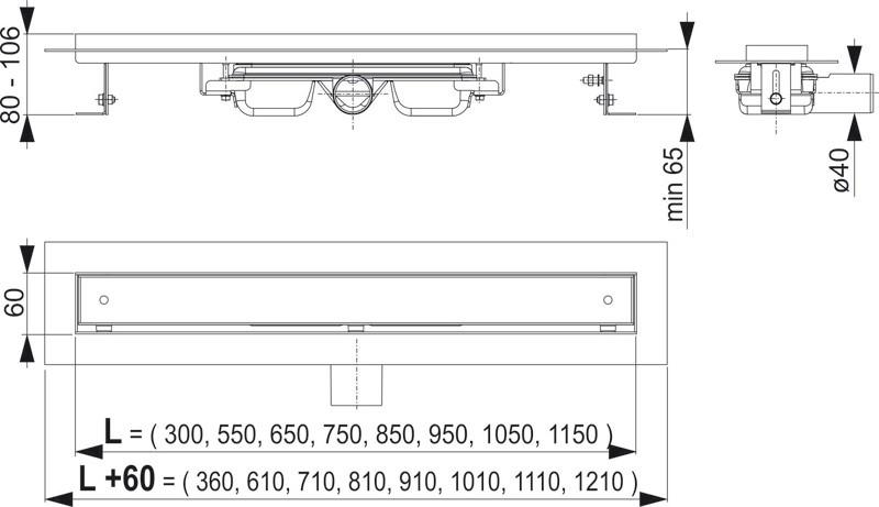 Ablaufrinne mit Rand für Rost und Fliesenverlegung  Bauhöhe 65 mm Bild 2